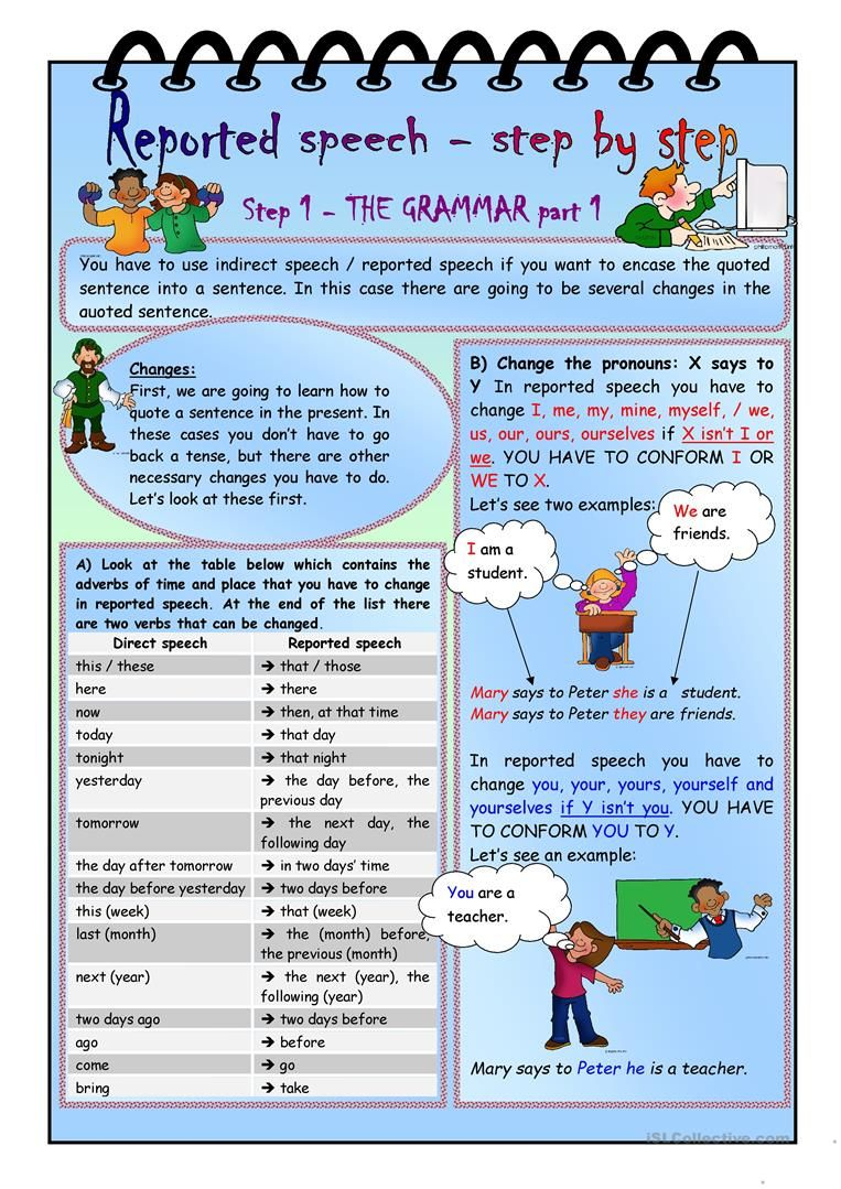 worksheet Step 1 Worksheet reported speech step by 1 grammar part worksheet free