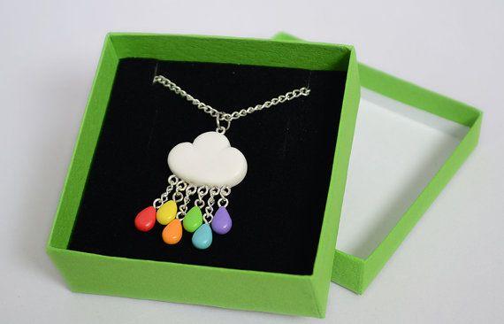 Rainbow Rain Cloud Necklace - Polymer Clay Cloud Pendant with Rainbow Rain Drops - Jewellery on Etsy, $18.00
