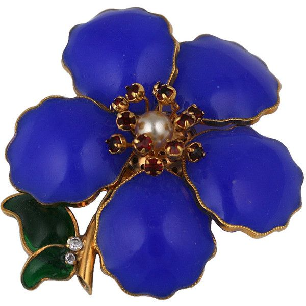Preowned Chanel Lapis Poured Glass Flower Sprig Brooch ($2,850) ❤ liked on Polyvore featuring jewelry, brooches, brooch, chanel, purple, flower jewellery, flower jewelry, pre owned jewelry, preowned jewelry and leaf brooch