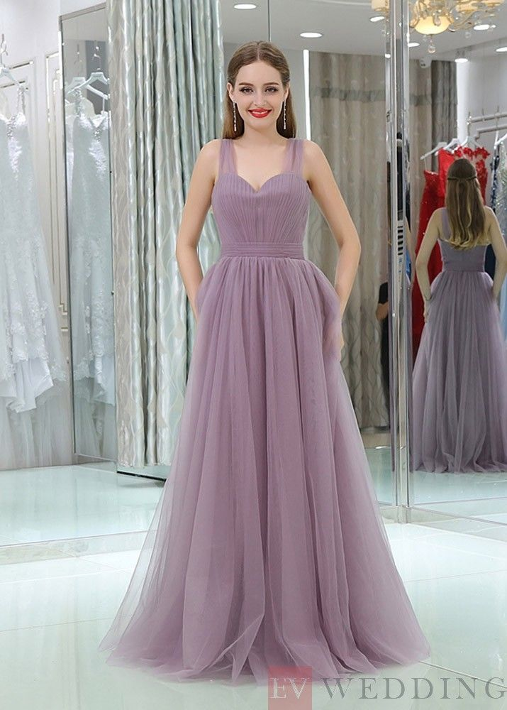 A-line Spaghetti Straps Pink Tulle Prom Dress Beautiful