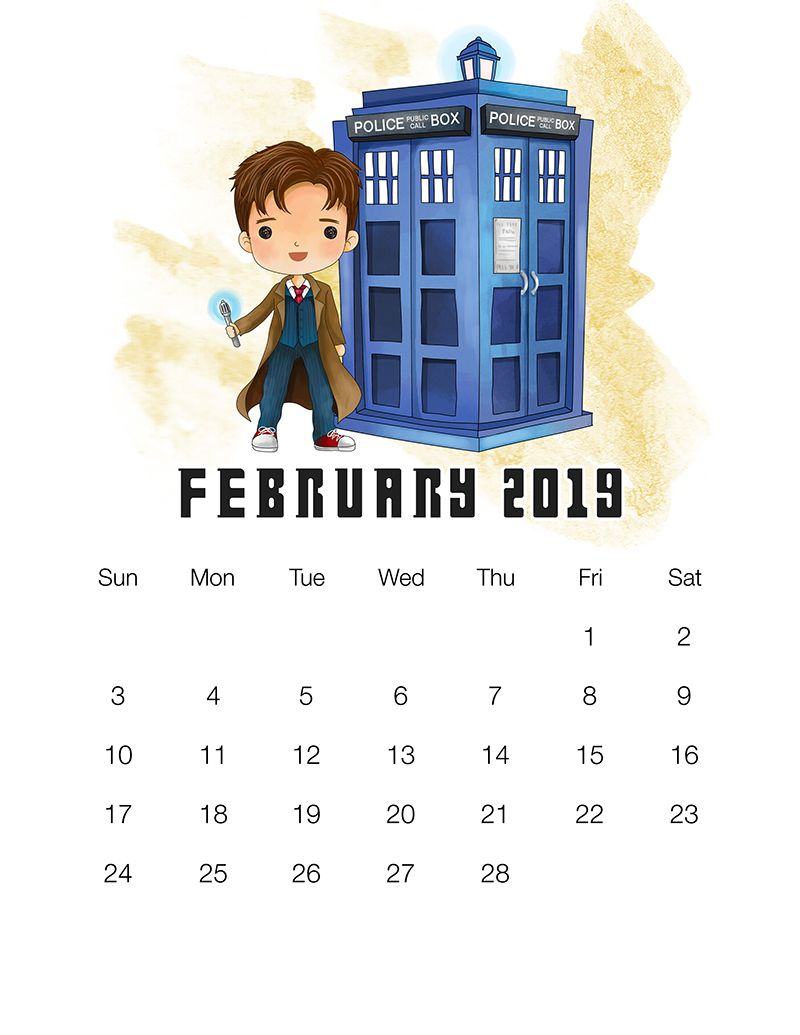 Anime February Calendar 2019 Free Printable 2019 Doctor Who Calendar | calendar 2019 | Doctor