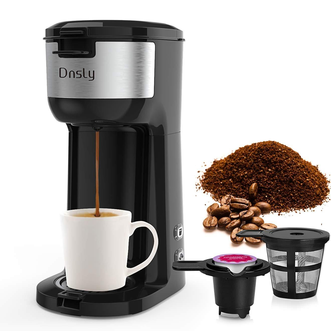 Dnsly coffee maker single serve, kcup pod & ground coffee