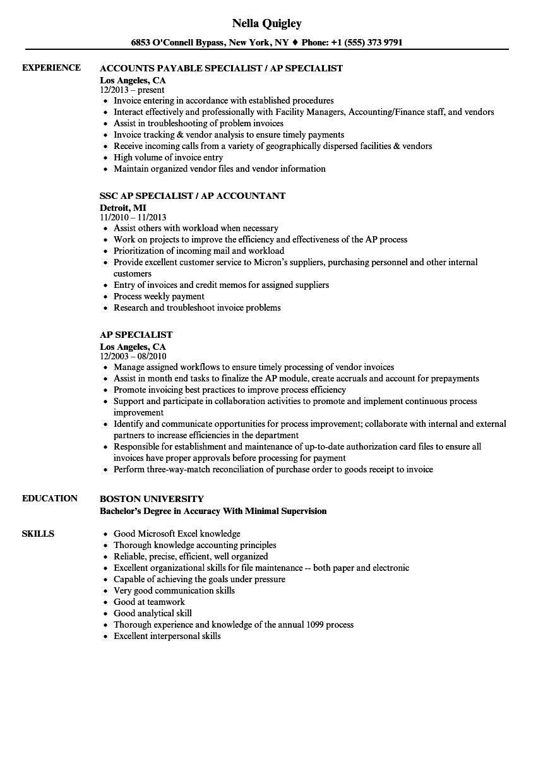 Accounts Payable Specialist Resume Louiesportsmouth Com Accounts Payable Accountant Resume Resume