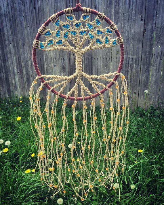 Macrame Tree of Life Dream Catcher Woven with Hemp Fiber & Glass Beads on 8 Inch Hoop / Woven Wall Hanging Tapestry / Vegan / Custom Gift