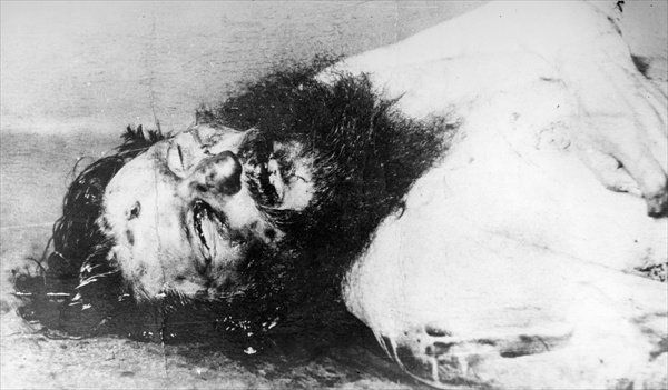 police photograph of rasputins corpse found floating in