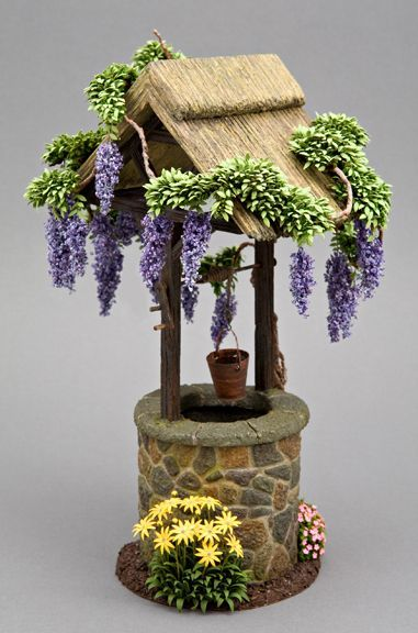 Miniature Dollhouse FAIRY GARDEN Accessories ~ Mini Wishing Pond w Flowers ~ NEW
