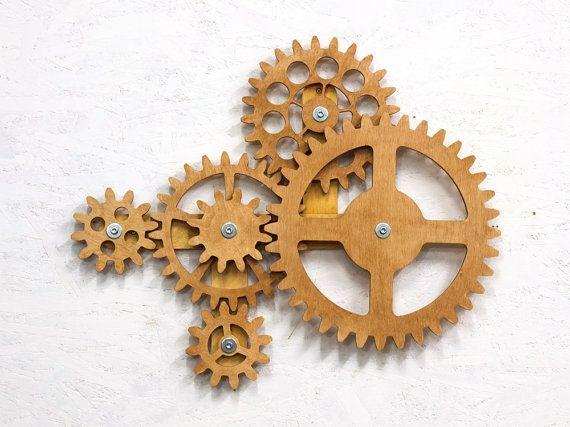 Kinetic Wall Sculpture Mechanical Wall Art Decor Rotating Etsy Wall Sculptures Art Decor Wooden Gears