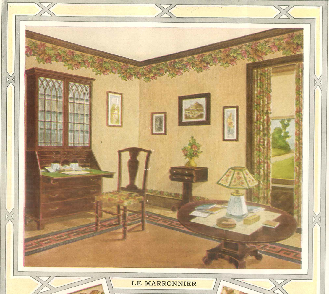 Home Catalog Companies: Wallpapered Room From 1914 Wallpaper Catalog. Wallpaper Is