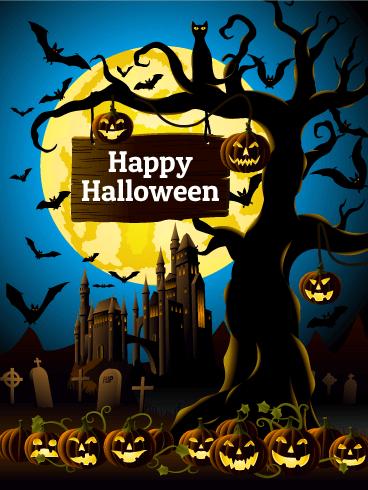 Lots Of Smiling Pumpkins Happy Halloween Card This Fantastic