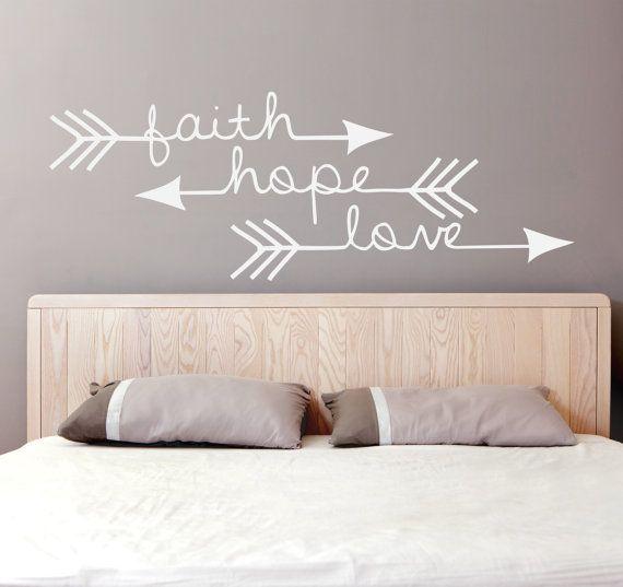 Bedroom Wall Decor Vinyl Decal Sticker Faith Hope Love Wall Words Home Decor Home Decor Catalogs Home Decor Store