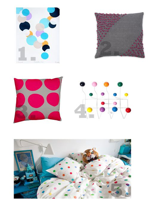 Spots and dots homewares  1. Runway 3 2012 by Rachel Castle  2. Dotty Cushion Smoke by Aura  3. Large Dot Cushion by Curio & Curio / Everything Begins  4. Replica Eames Hang it all Hooks by Matt Blatt  5. Spot Quilt by Ikea