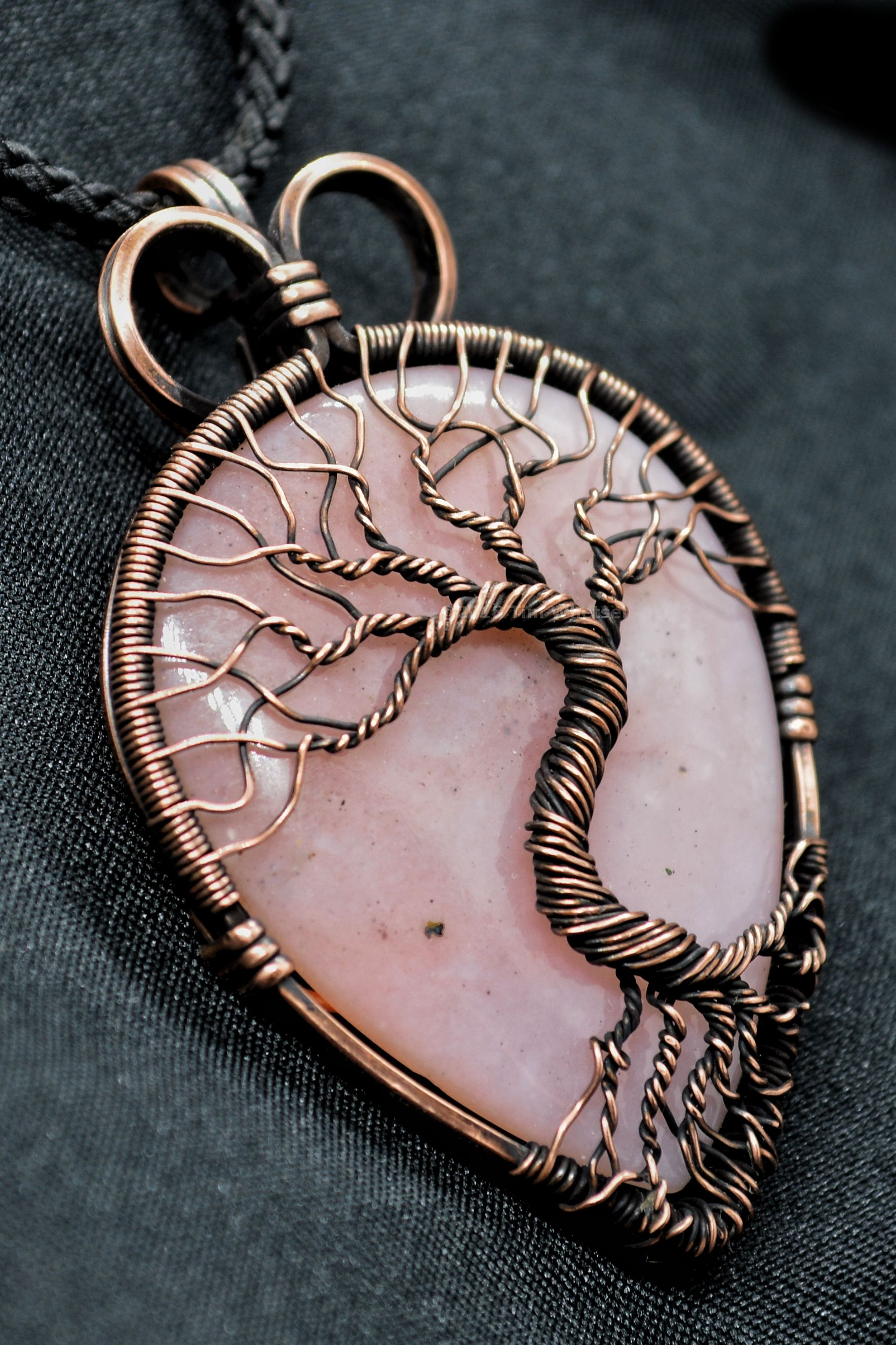 09380ffdfc05d Teardrop/pear shaped Peruvian pink opal wire wrapped with antiqued ...
