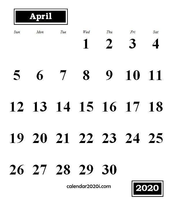 April 2020 Monthly Portrait Calendar