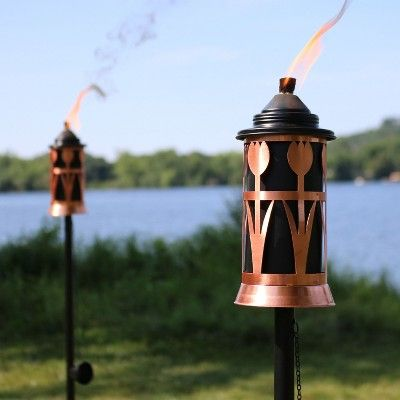 2pk Steel Tulip Jar Outdoor Torch