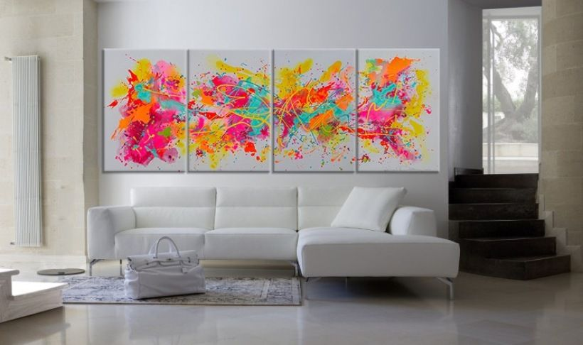 Abstract Painting Summertime Artist Dora Woodrum Size 96 Inches Long X 36 Tall On Four 24 Canvas Panels Medium Acrylic