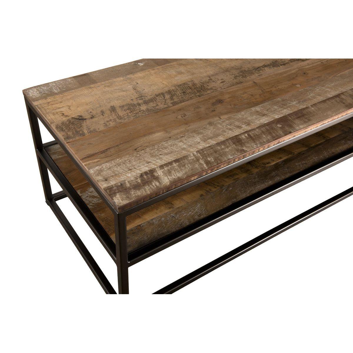 Table Basse Contemporaine Bois Et Metal 3 Plateaux 150x50cm Swing