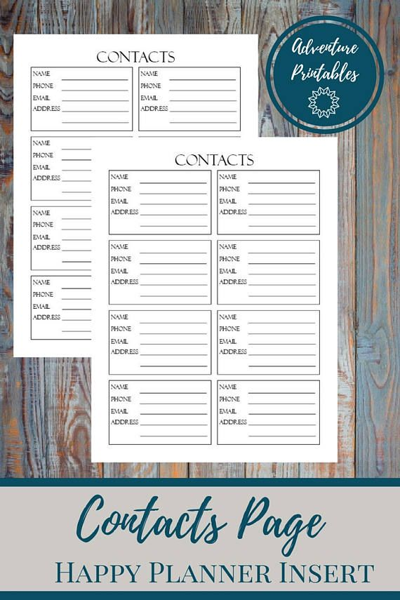 contacts page classic happy planner printable insert personal contacs phone numbers list email addresses mambi planner 7x 925 in contact page insert