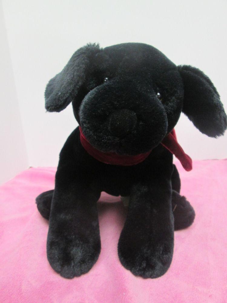 Russ Berrie Plush Dog Ginger Black Lab Puppy Stuffed 13 Russberrie