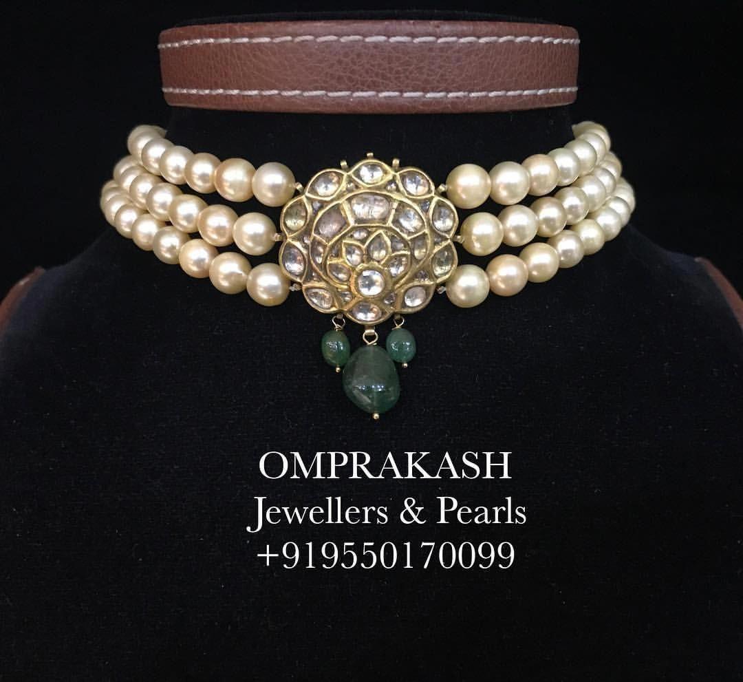 White Pearl Polki Choker  Polki Choker Indian Jewelry Indian Choker Pakistani jewelry Punjabi jewelry Indian choker