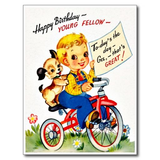 Little Boy Fishing Retro Happy Birthday Card – Birthday Card for Boy