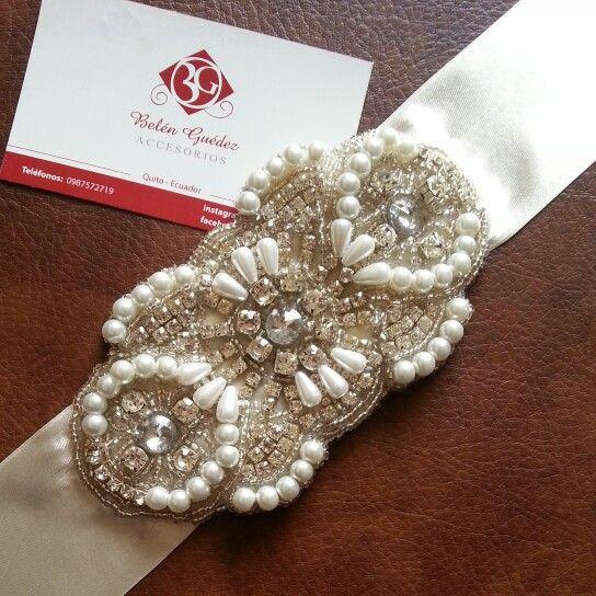 cinturones bordados para vestidos de novias.belén guedez novias