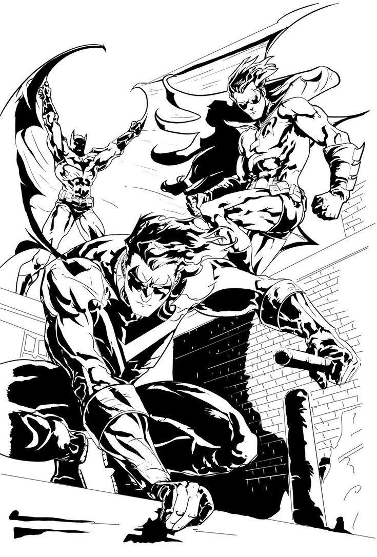 Batman, Robin and NightWing by PhillieCheesie | LineArt: Batman ...