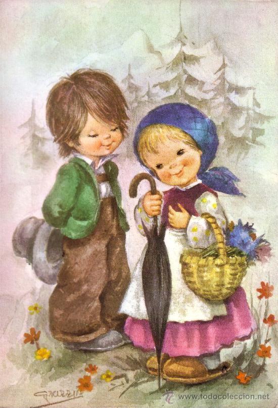 Bonita Postal Con Dibujos De Una Pareja De Ninos Postales Ninos Dibujos Para Ninos Tarjetas De Navidad Bonitas Dibujos Bonitos