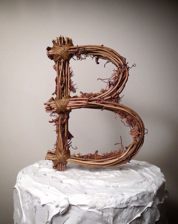 country wedding cake topper rustic twig monogram letter wedding cake topper by 13003