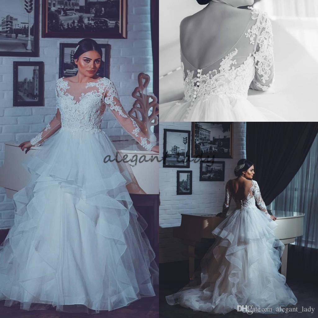 Plus Size Lace Layers Cascading Ruffles Skirts Wedding Dresses 2018 ...