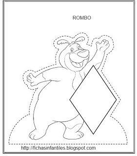Fichas Infantiles Rombo Para Colorear Figura El Rombo Shape
