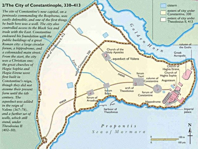 Map of Constantinople with Theodosian Wall | Fortified Architecture ...