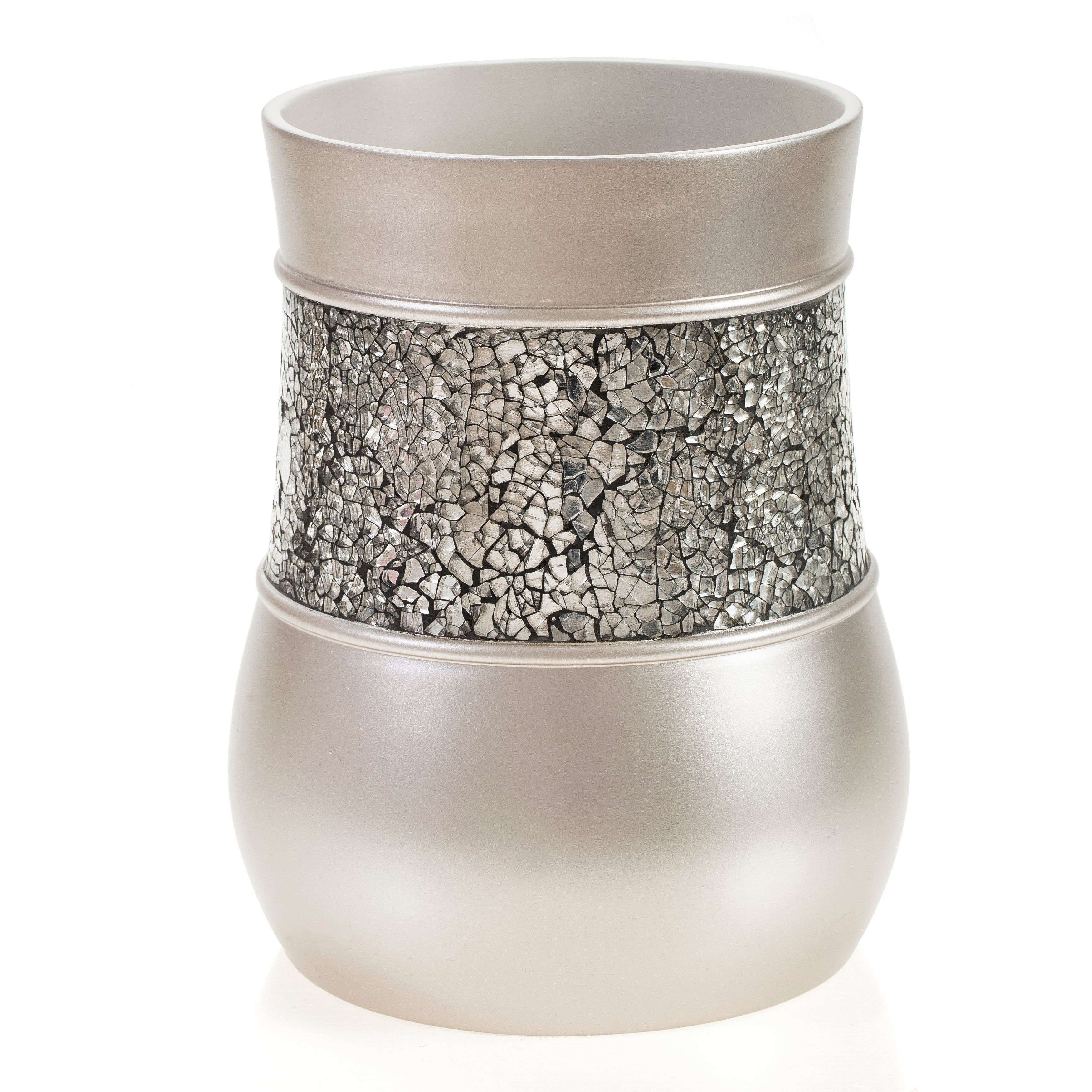 Brushed Nickle Bathroom Trash Can Wastebasket Gray Creative Scents In 2020 Brushed Nickel Waste Paper Bathroom Tumbler