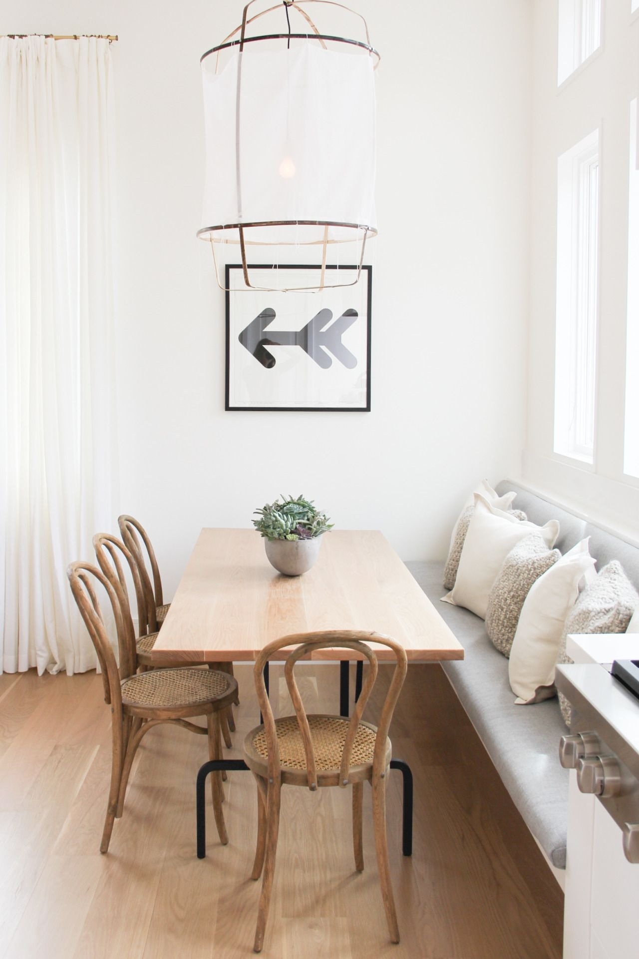 Kitchen table with bench seating and chairs  A Gentlewoman  Lamparas  Pinterest  Timber table Bentwood chairs