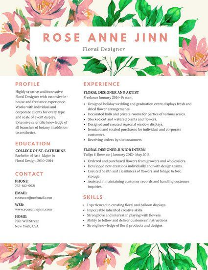 Colorful Floral Resume