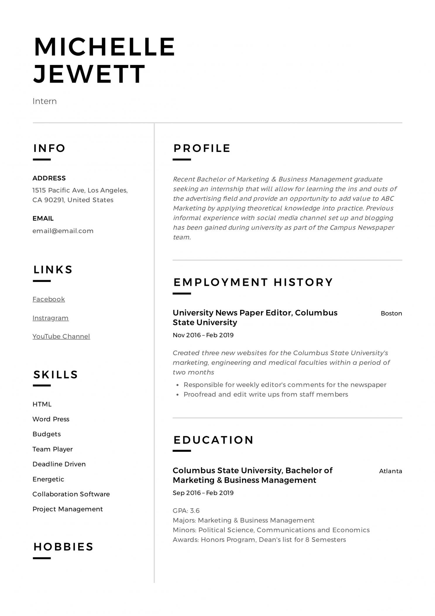 Resume Sample For Medical Internship Project Manager Resume