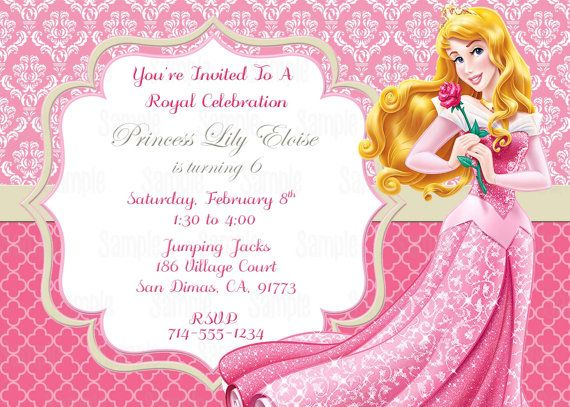 Printable Sleeping Beauty Princess Aurora Birthday Party Invitation On Etsy 1000