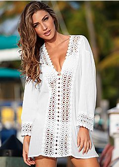 daf0a8f4435 ... Beach Bikini Cover up. Women s Cover Ups  Open crochet trimmed tunic