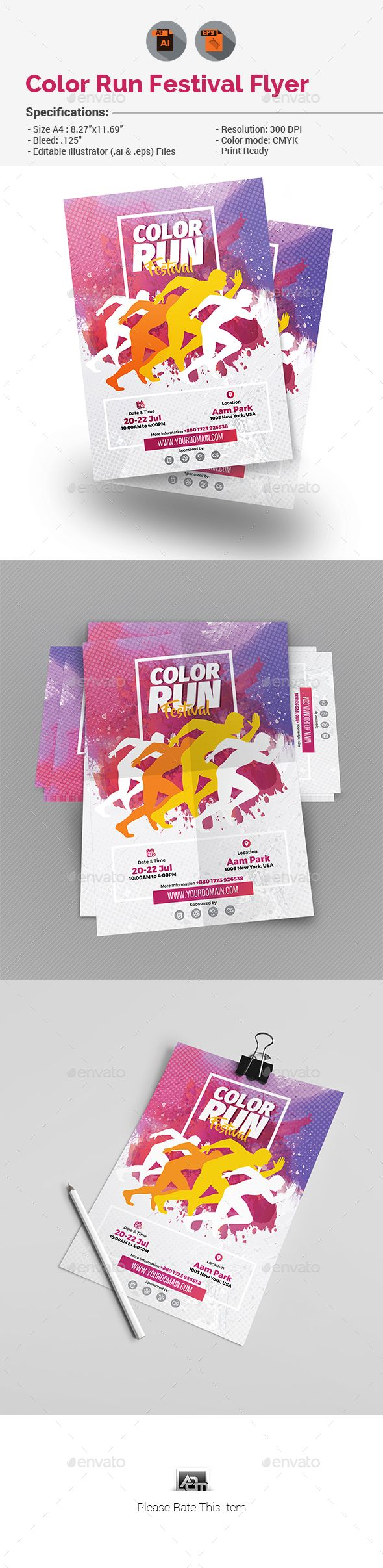 Color Run Festival Flyer Template Vector EPS AI Illustrator