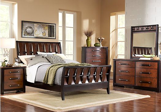Picture Of Bedford Heights King Dark Cherry 7pc Sleigh Bedroom From Sets Furniture