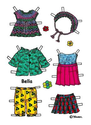 Karen`s Paper Dolls: Bella 1-5 Paper Doll in Colours. Bella 1-5 påklædningsdukke…