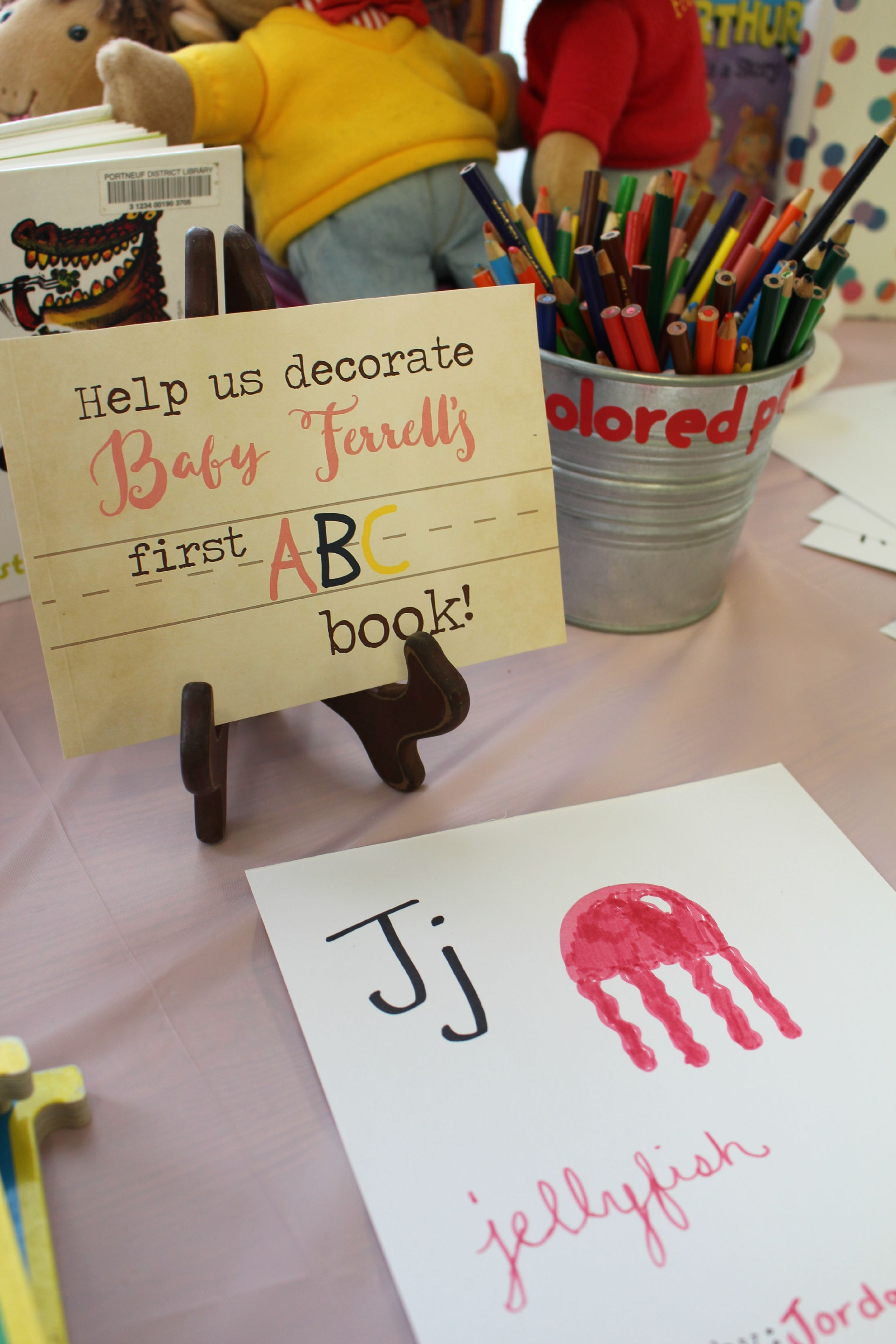 Baby Shower Idea chalk board sign and station for guests to