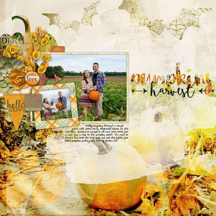 pumpkin harvest couple photography cornfields scrapbook page #designerdigitals
