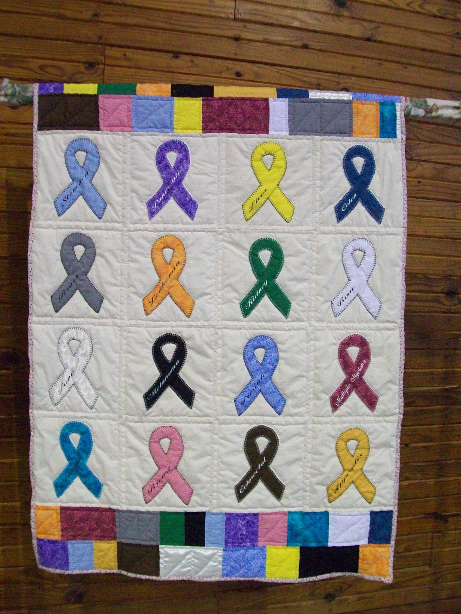 cancer quilt #1 made by my sis | Cancer patients | Pinterest ... : quilt patterns for cancer patients - Adamdwight.com