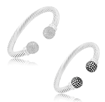 $9.99 - Stainless Steel Bangle Bracelet with White or Black Crystal Balls