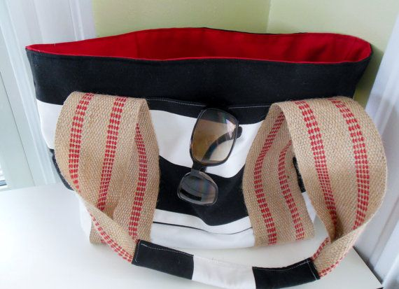 Large Tote/ Beach Bag/Black and White Striped, Red Lining/ Water and Stain Resistant/ Nautical Beach Bag