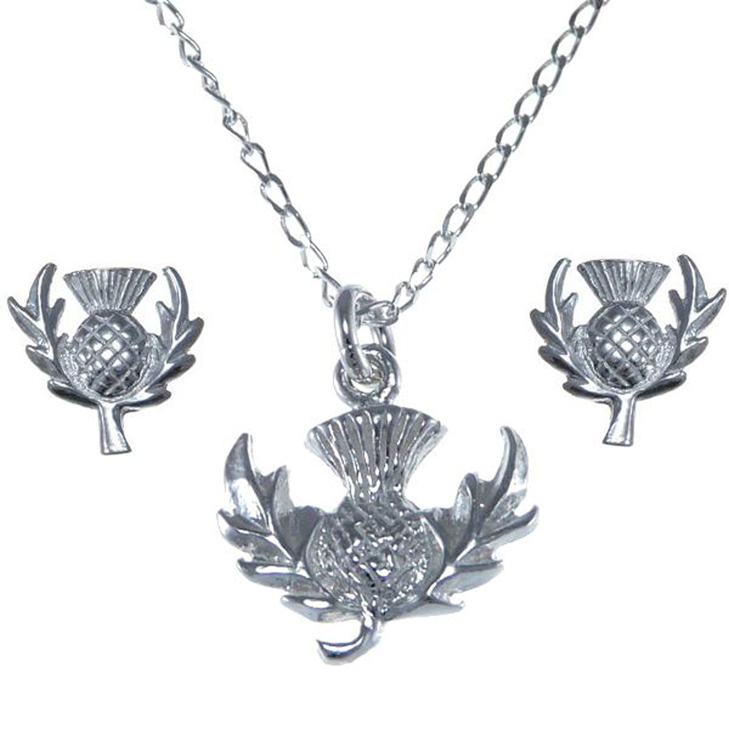 Scottish necklace ladies gift silver thistle pendant and earring