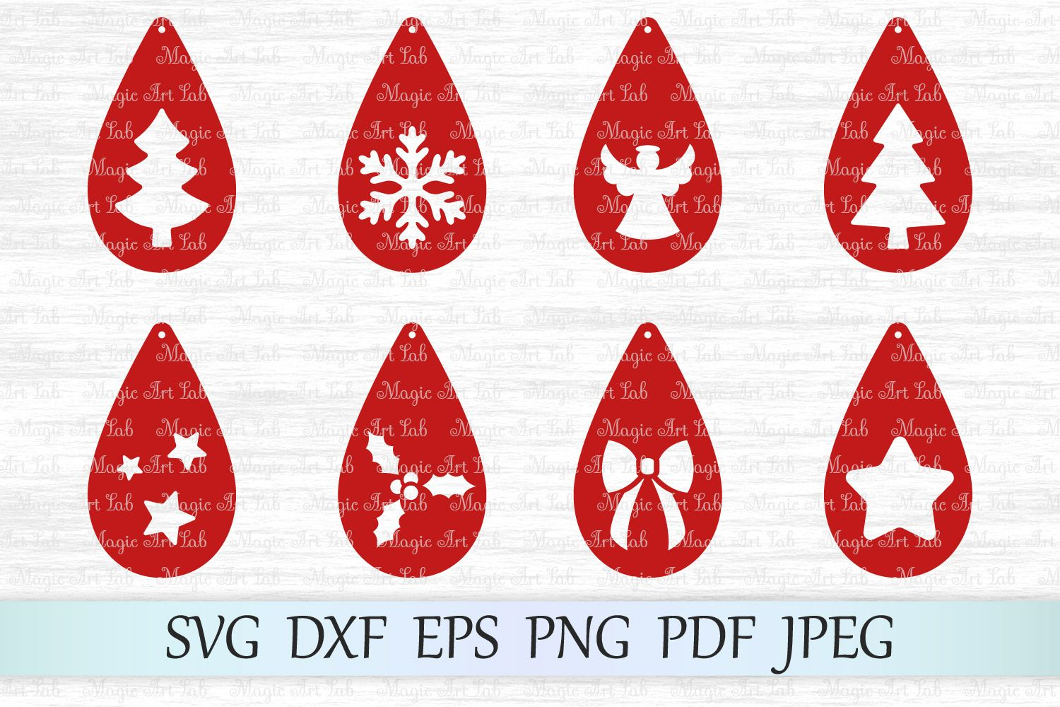 Christmas Earrings SVGs (Graphic) by MagicArtLab