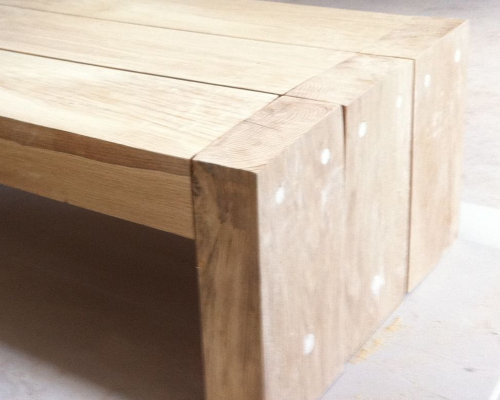 a simple coffee table made from new oak railway sleepers | kitchen