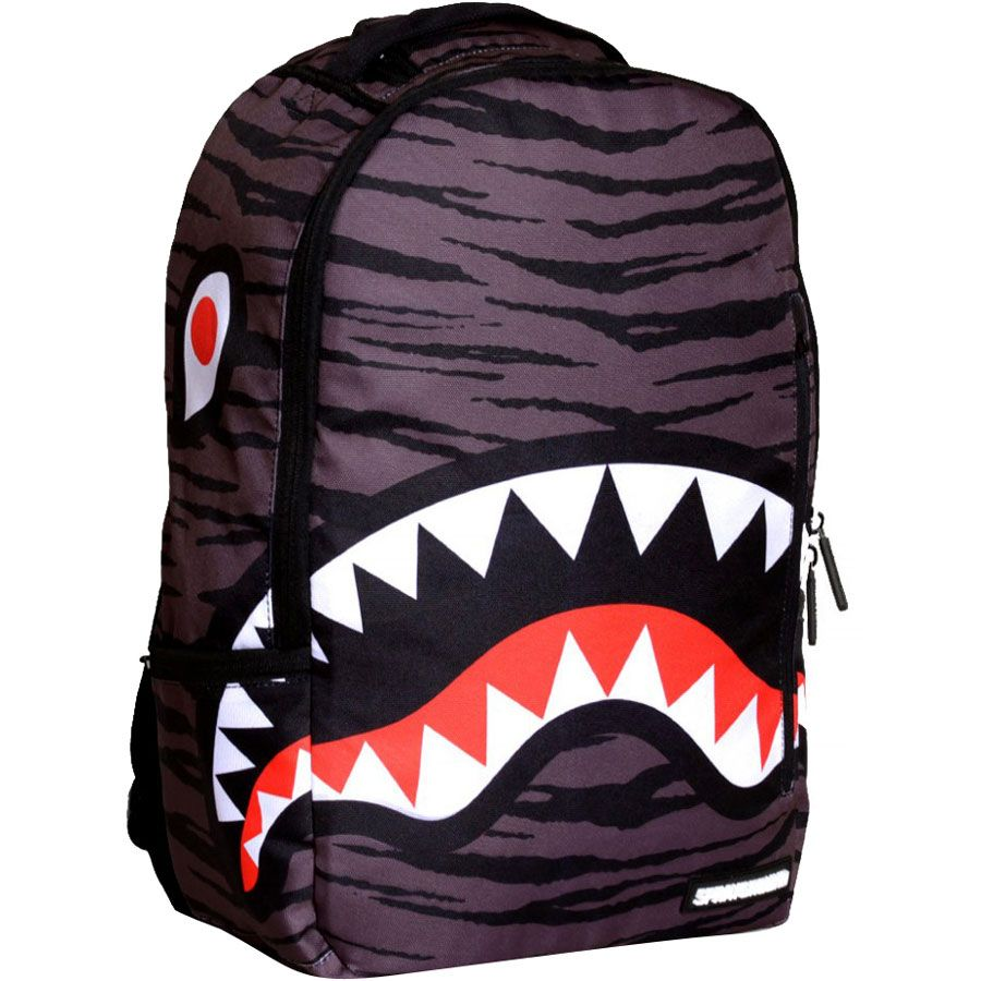 Gym Bag Spray: Sprayground Tiger Shark Deluxe Backpack In Grey