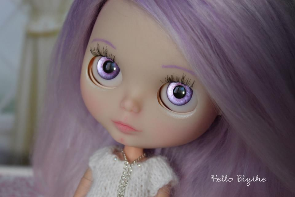 Custom Blythe with purple to pink ombré reroot on ebay